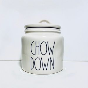 Rae Dunn CHOW DOWN pet treat/cookie canister NWT